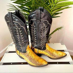 Tony Lama Yellow Snakeskin StyleY8887 Leather Boot